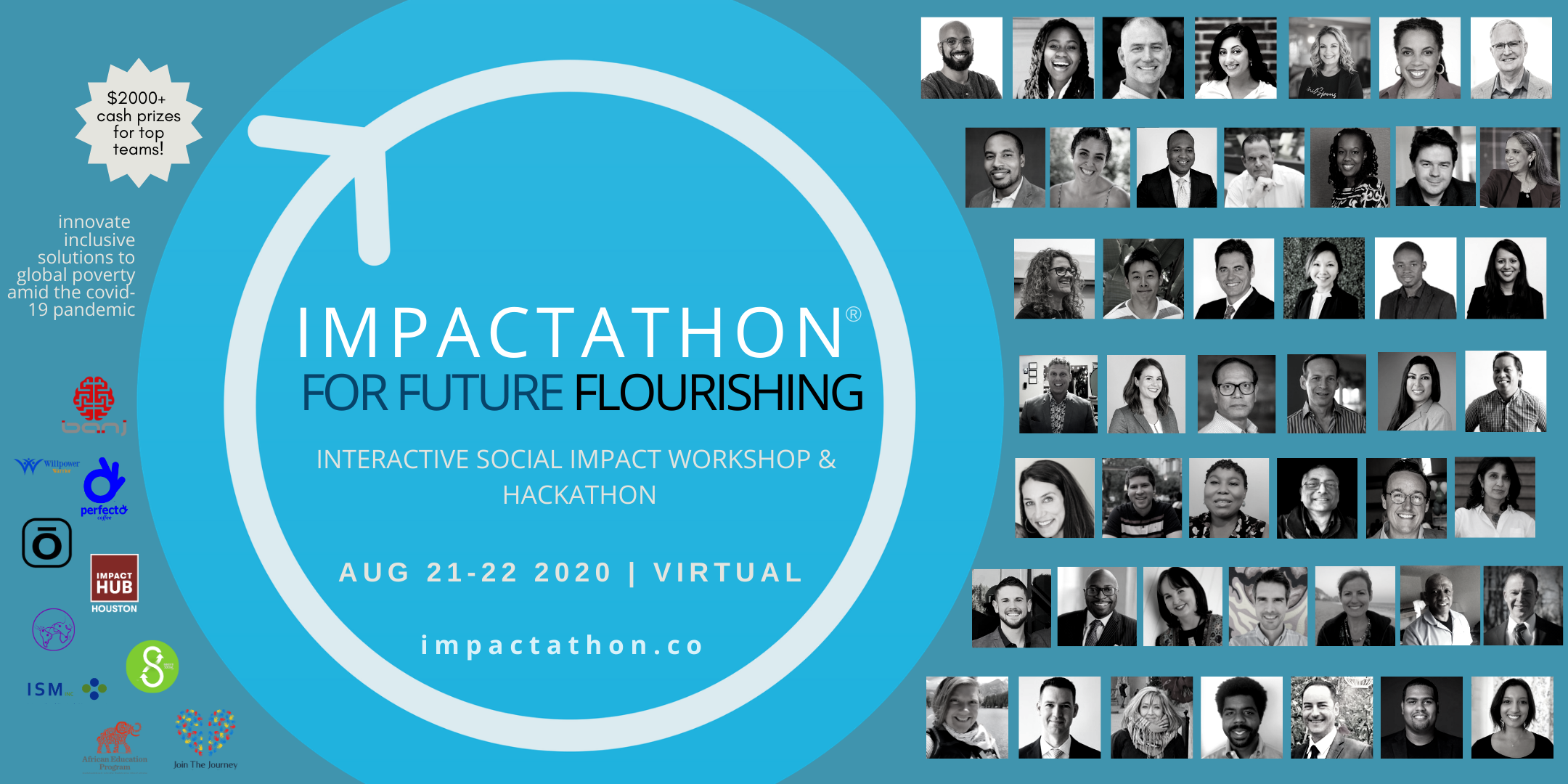 Impactathon for Future Flourishing event image with Impactathon logo and black and white photos of Impact Catalysts