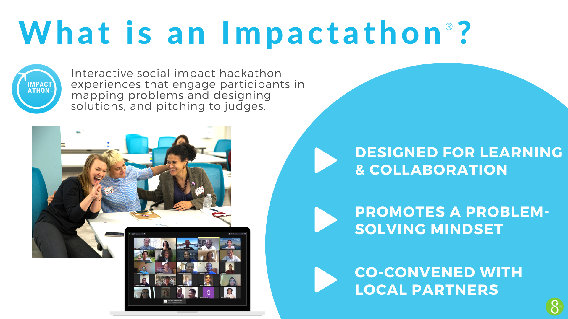 What is an Impactathon? Interactive social impact hackathon experiences that engage participants in mapping problems and designing solutions, and pitching to judges. Designed for learning & Collaboration. PROMOTES A problem-solving mindset. co-convened with local partners